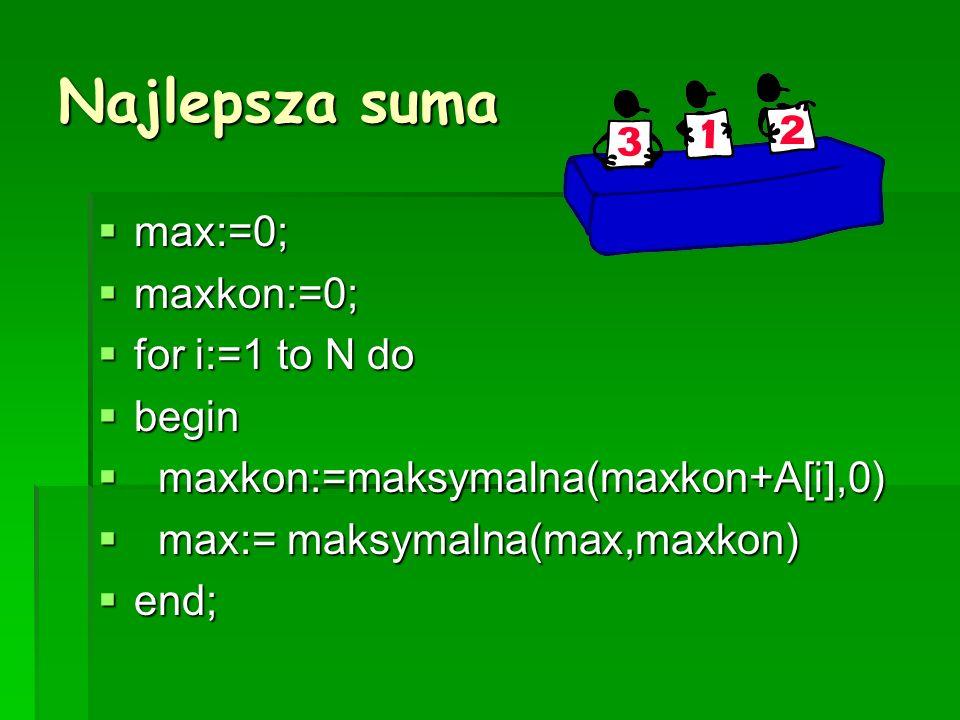 Najlepsza suma max:=0; max:=0; maxkon:=0; maxkon:=0; for i:=1 to N do for i:=1 to N do begin begin maxkon:=maksymalna(maxkon+A[i],0) maxkon:=maksymalna(maxkon+A[i],0) max:= maksymalna(max,maxkon) max:= maksymalna(max,maxkon) end; end;