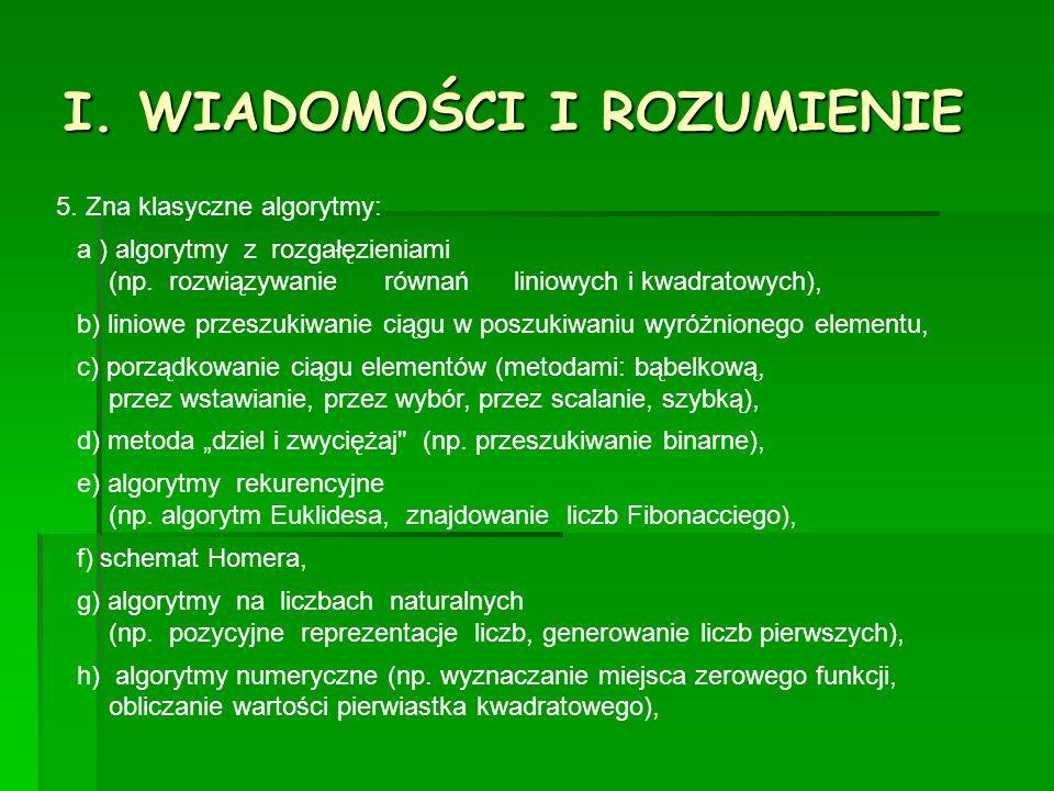 I. WIADOMOŚCI I ROZUMIENIE 5. Zna klasyczne algorytmy: a ) algorytmy z rozgałęzieniami (np.