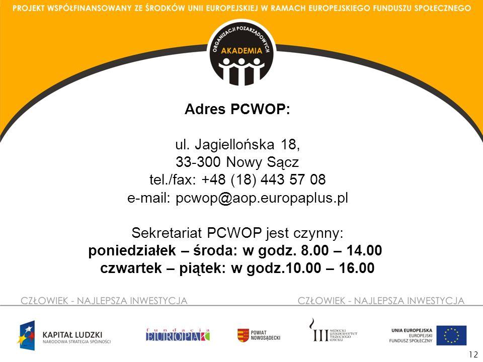 12 Adres PCWOP: ul.