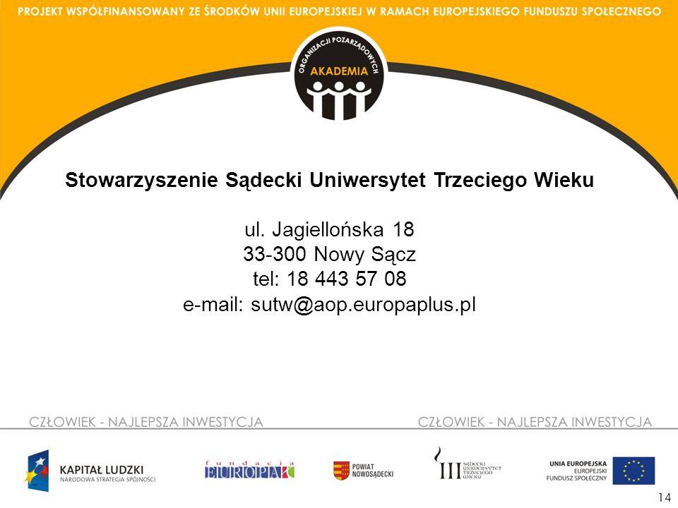 14 Stowarzyszenie Sądecki Uniwersytet Trzeciego Wieku ul.