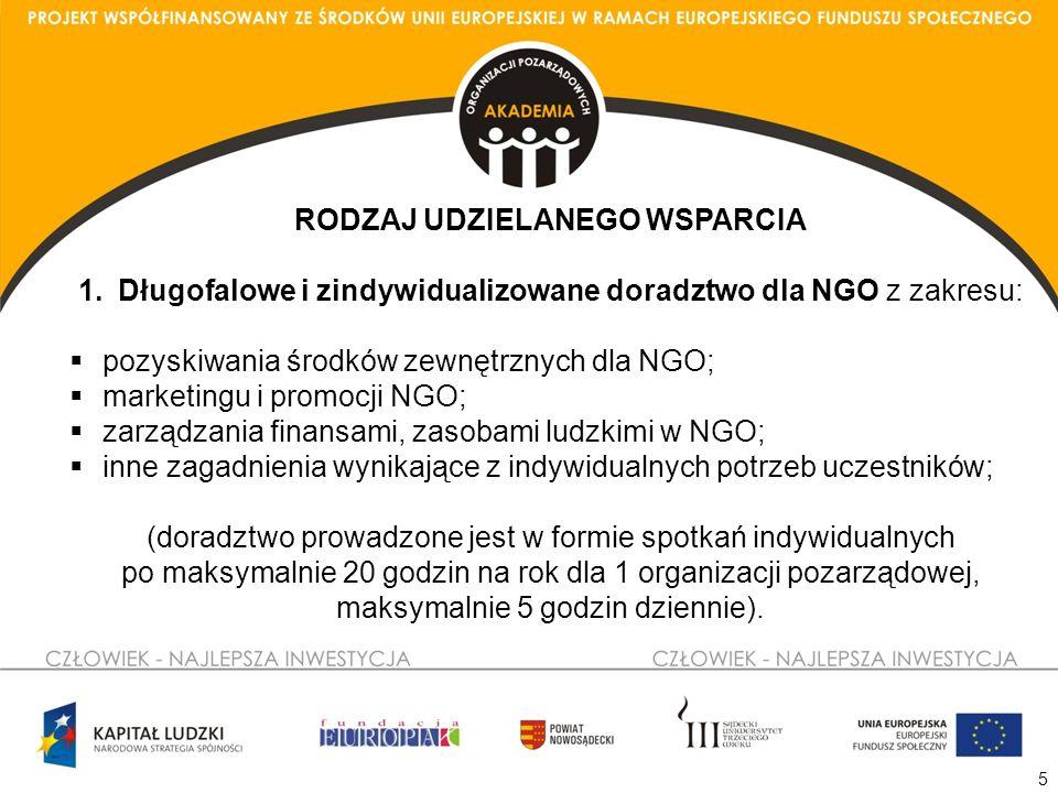 5 RODZAJ UDZIELANEGO WSPARCIA 1.Długofalowe i zindywidualizowane doradztwo dla NGO z zakresu: pozyskiwania środków zewnętrznych dla NGO; marketingu i promocji NGO; zarządzania finansami, zasobami ludzkimi w NGO; inne zagadnienia wynikające z indywidualnych potrzeb uczestników; (doradztwo prowadzone jest w formie spotkań indywidualnych po maksymalnie 20 godzin na rok dla 1 organizacji pozarządowej, maksymalnie 5 godzin dziennie).