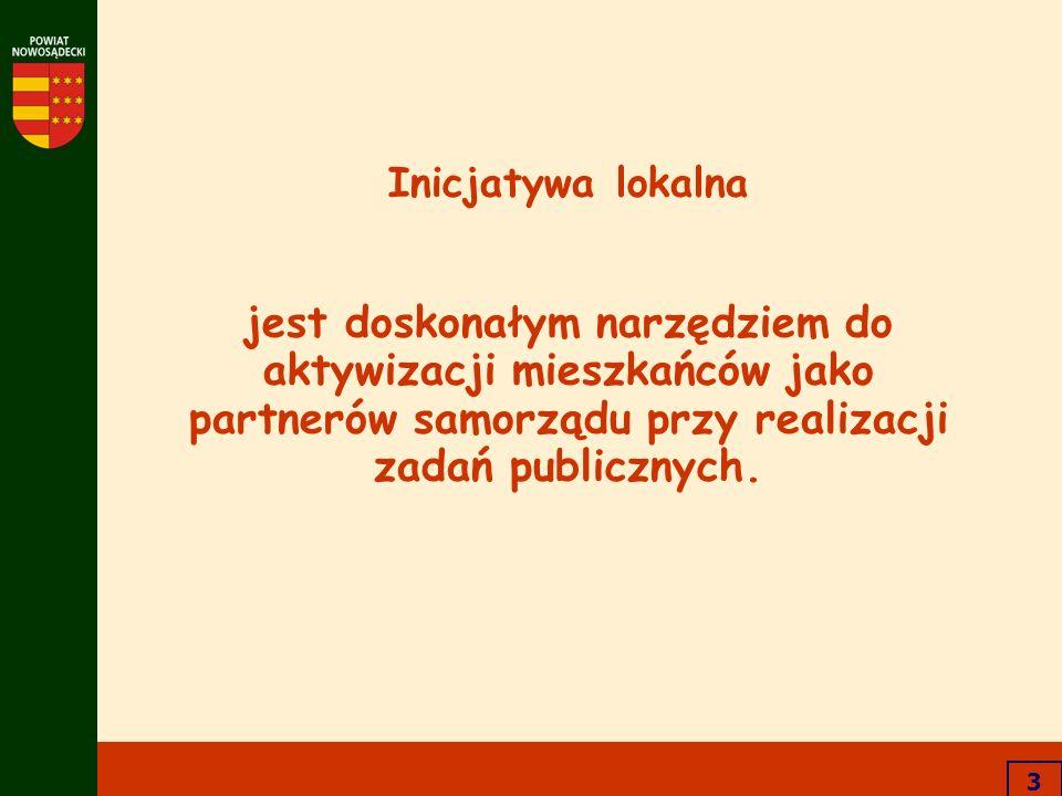 3 Inicjatywa lokalna jest doskonałym narzędziem do aktywizacji mieszkańców jako partnerów samorządu przy realizacji zadań publicznych.