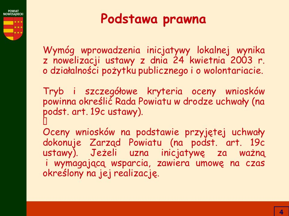 4 Podstawa prawna Wymóg wprowadzenia inicjatywy lokalnej wynika z nowelizacji ustawy z dnia 24 kwietnia 2003 r. o działalności pożytku publicznego i o