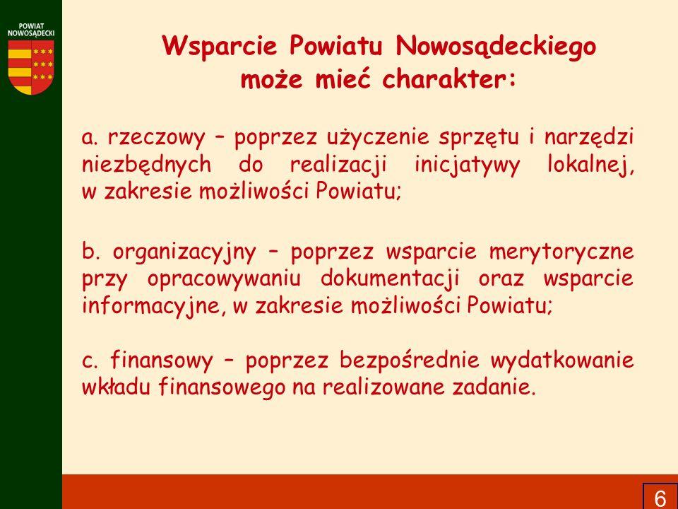 6 Wsparcie Powiatu Nowosądeckiego może mieć charakter: a. rzeczowy – poprzez użyczenie sprzętu i narzędzi niezbędnych do realizacji inicjatywy lokalne