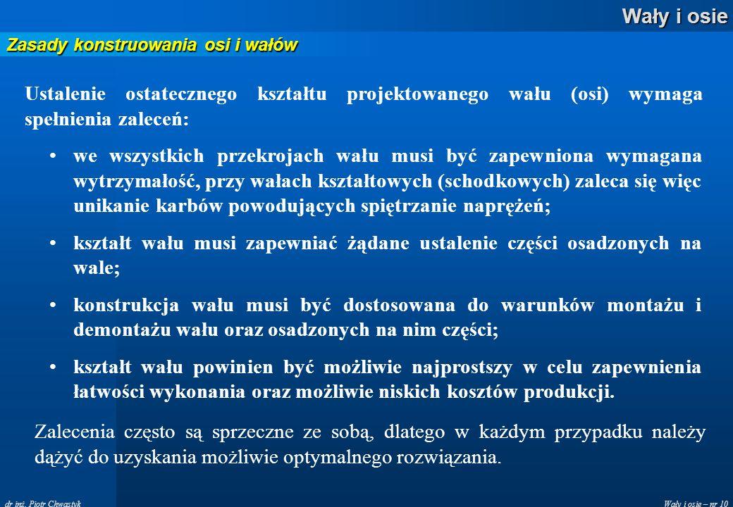 Wały i osie – nr 10 Wały i osie dr inż. Piotr Chwastyk Zasady konstruowania osi i wałów Ustalenie ostatecznego kształtu projektowanego wału (osi) wyma