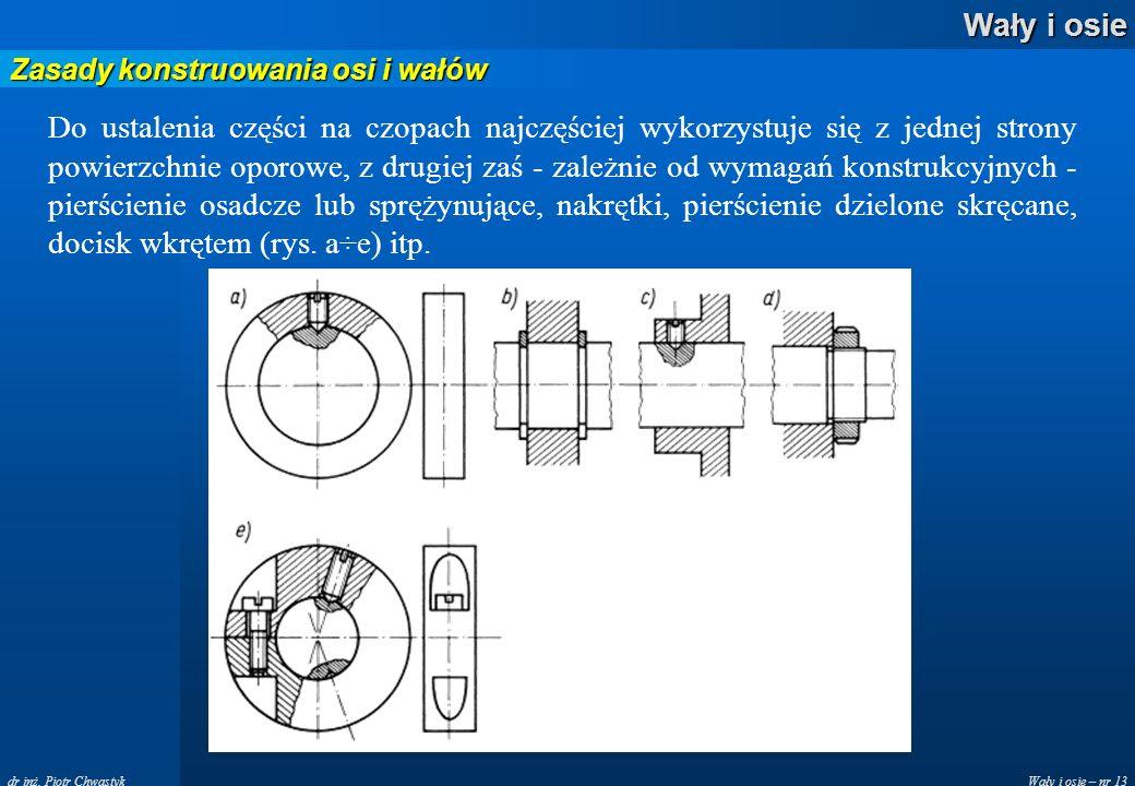 Wały i osie – nr 13 Wały i osie dr inż. Piotr Chwastyk Zasady konstruowania osi i wałów Do ustalenia części na czopach najczęściej wykorzystuje się z