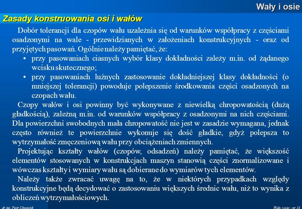 Wały i osie – nr 14 Wały i osie dr inż. Piotr Chwastyk Zasady konstruowania osi i wałów Dobór tolerancji dla czopów wału uzależnia się od warunków wsp