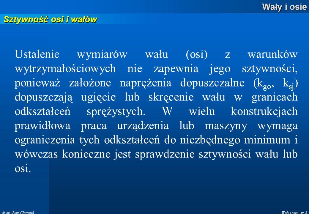 Wały i osie – nr 2 Wały i osie dr inż. Piotr Chwastyk Sztywność osi i wałów Ustalenie wymiarów wału (osi) z warunków wytrzymałościowych nie zapewnia j