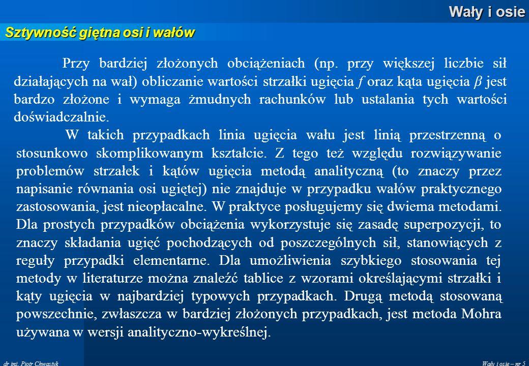 Wały i osie – nr 5 Wały i osie dr inż. Piotr Chwastyk Sztywność giętna osi i wałów Przy bardziej złożonych obciążeniach (np. przy większej liczbie sił