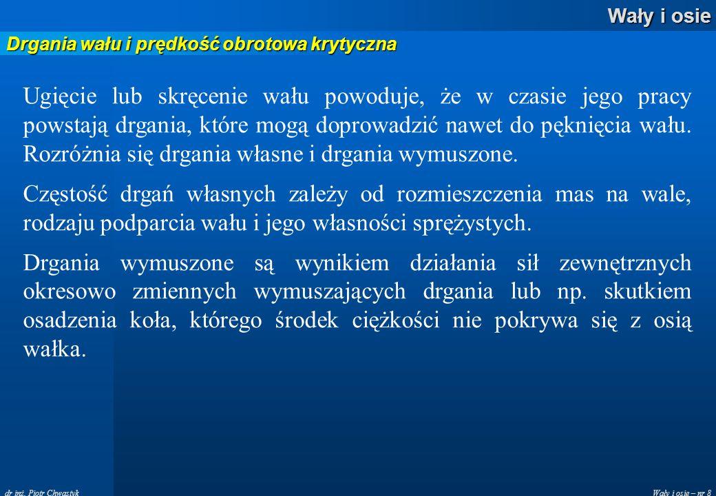 Wały i osie – nr 8 Wały i osie dr inż. Piotr Chwastyk Drgania wału i prędkość obrotowa krytyczna Ugięcie lub skręcenie wału powoduje, że w czasie jego