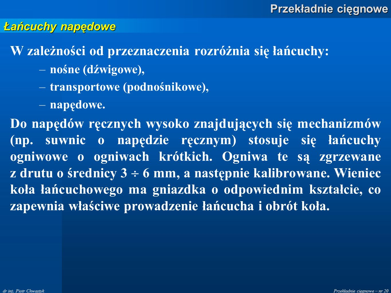 Przekładnie cięgnowe – nr 20 Przekładnie cięgnowe dr inż.