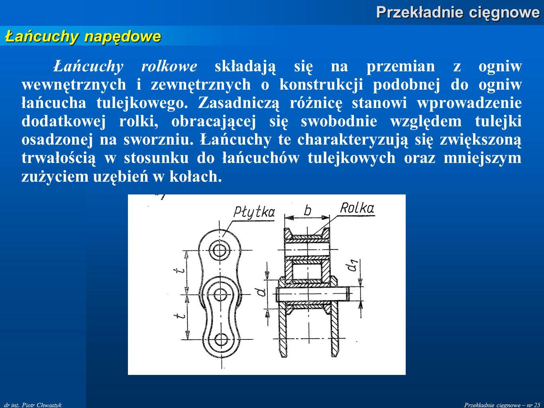 Przekładnie cięgnowe – nr 25 Przekładnie cięgnowe dr inż.