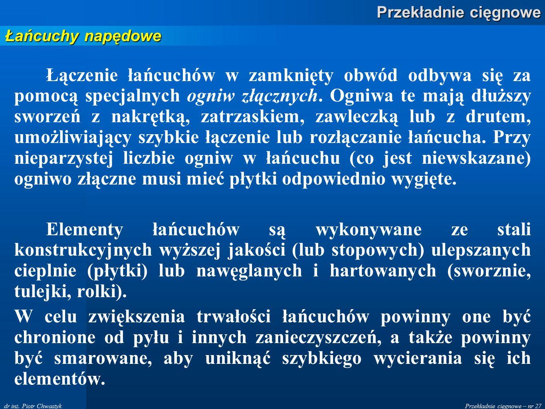 Przekładnie cięgnowe – nr 27 Przekładnie cięgnowe dr inż.