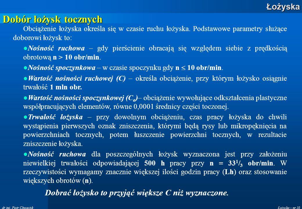 Łożyska – nr 10Łożyska dr inż. Piotr Chwastyk Dobór łożysk tocznych Obciążenie łożyska określa się w czasie ruchu łożyska. Podstawowe parametry służąc
