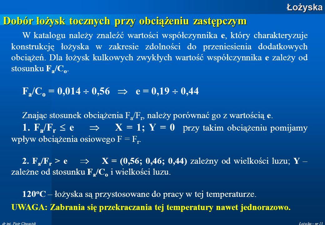 Łożyska – nr 13Łożyska dr inż. Piotr Chwastyk Dobór łożysk tocznych przy obciążeniu zastępczym W katalogu należy znaleźć wartości współczynnika e, któ