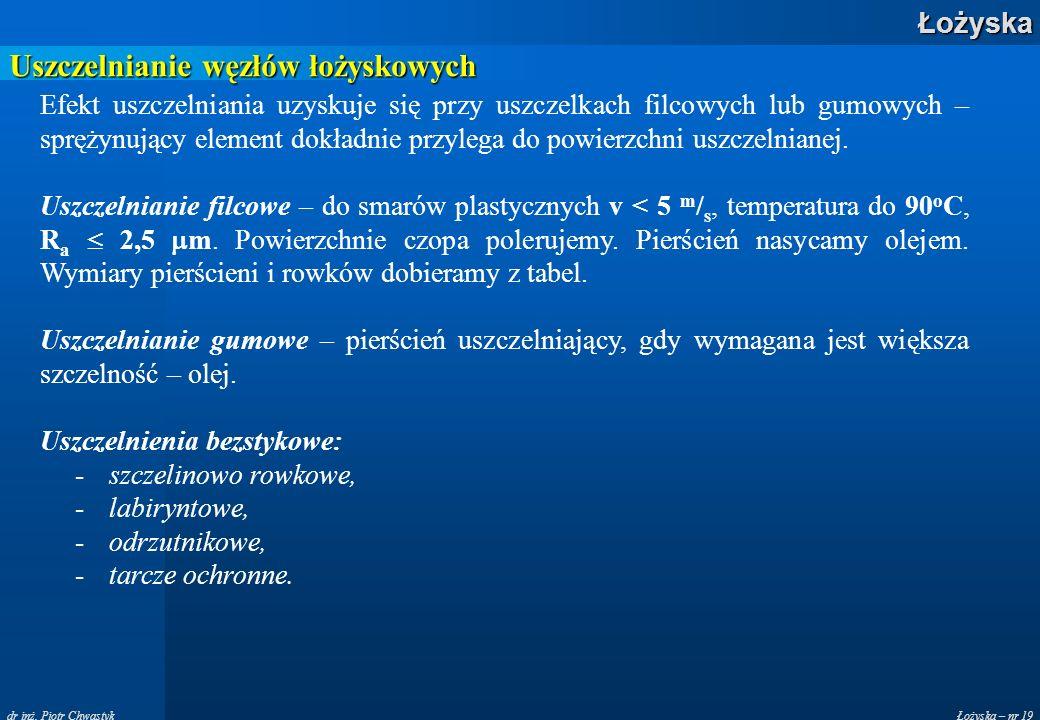 Łożyska – nr 19Łożyska dr inż. Piotr Chwastyk Uszczelnianie węzłów łożyskowych Efekt uszczelniania uzyskuje się przy uszczelkach filcowych lub gumowyc