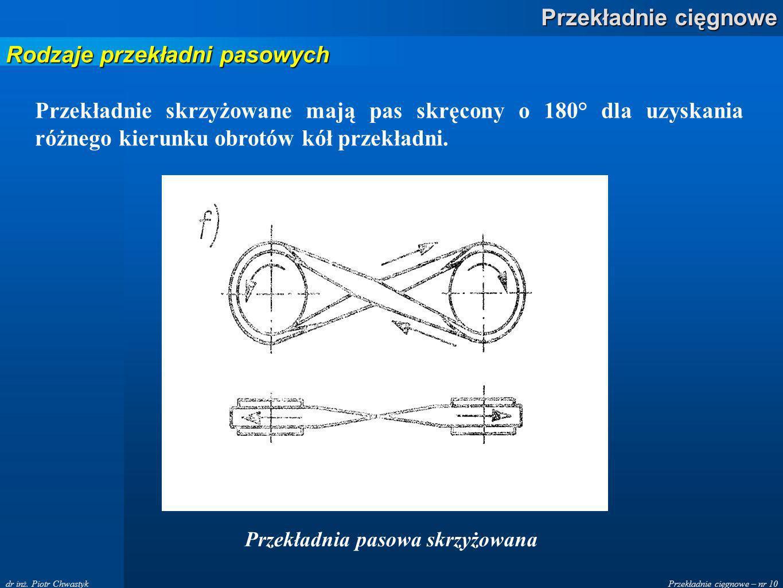 Przekładnie cięgnowe – nr 10 Przekładnie cięgnowe dr inż. Piotr Chwastyk Przekładnie skrzyżowane mają pas skręcony o 180° dla uzyskania różnego kierun