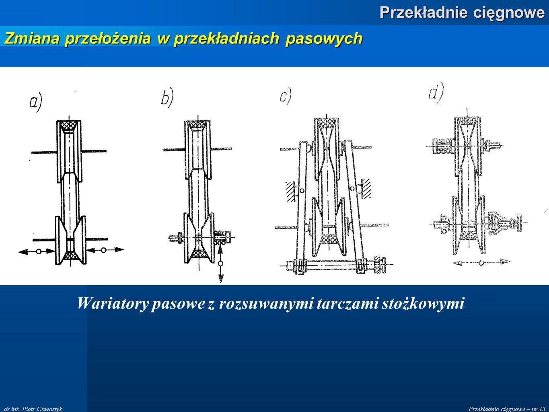 Przekładnie cięgnowe – nr 13 Przekładnie cięgnowe dr inż. Piotr Chwastyk Wariatory pasowe z rozsuwanymi tarczami stożkowymi Zmiana przełożenia w przek