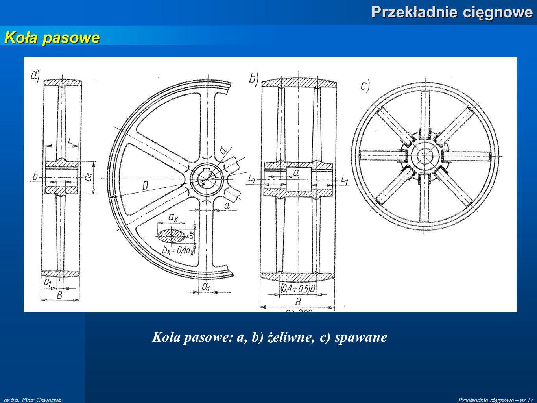 Przekładnie cięgnowe – nr 17 Przekładnie cięgnowe dr inż. Piotr Chwastyk Kola pasowe: a, b) żeliwne, c) spawane Koła pasowe