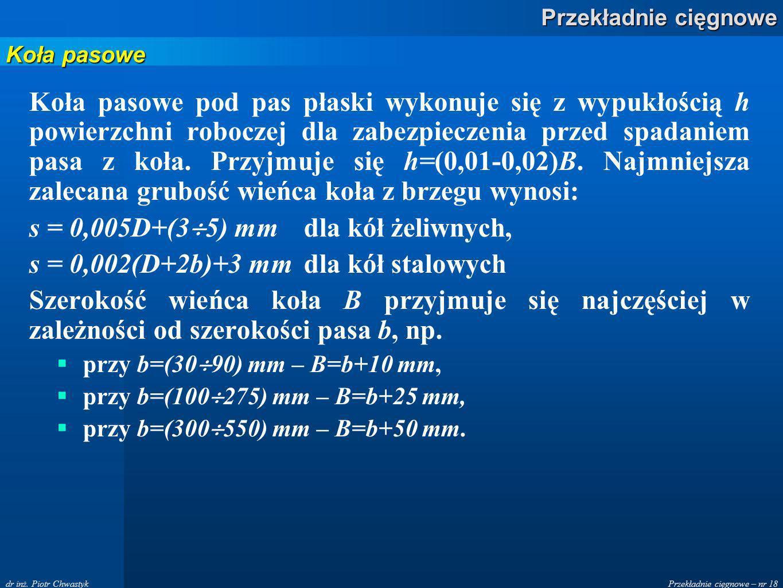 Przekładnie cięgnowe – nr 18 Przekładnie cięgnowe dr inż. Piotr Chwastyk Koła pasowe pod pas płaski wykonuje się z wypukłością h powierzchni roboczej