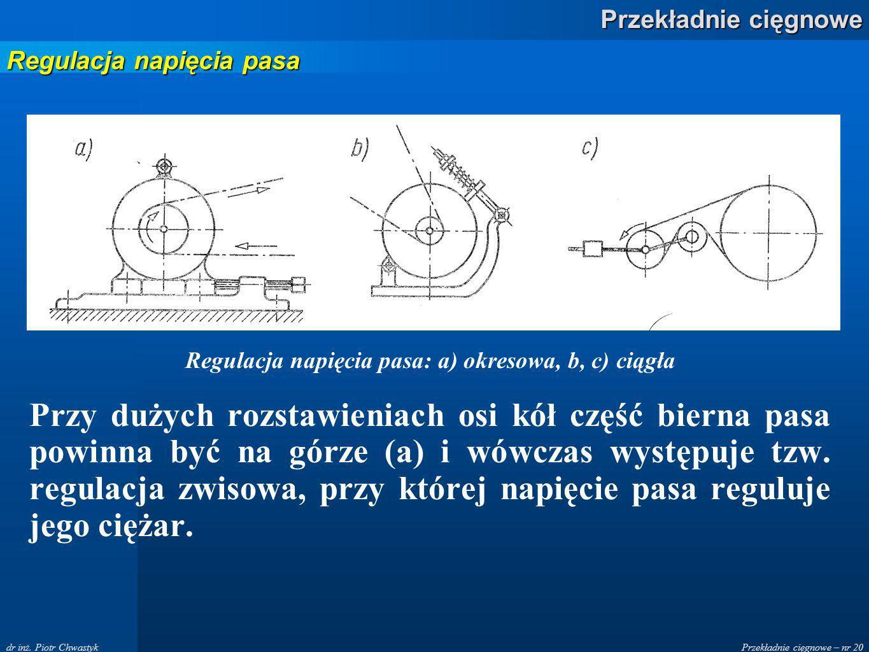 Przekładnie cięgnowe – nr 20 Przekładnie cięgnowe dr inż. Piotr Chwastyk Regulacja napięcia pasa: a) okresowa, b, c) ciągła Przy dużych rozstawieniach
