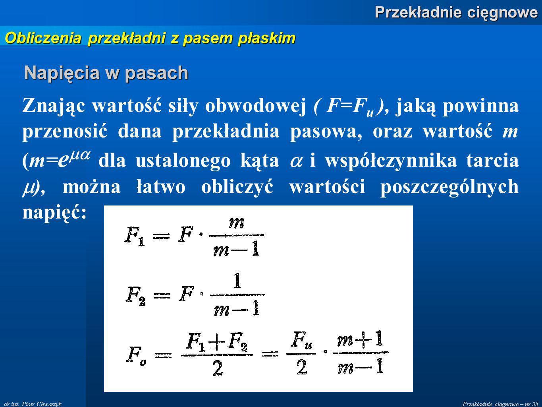 Przekładnie cięgnowe – nr 35 Przekładnie cięgnowe dr inż. Piotr Chwastyk Napięcia w pasach Znając wartość siły obwodowej ( F=F u ), jaką powinna przen