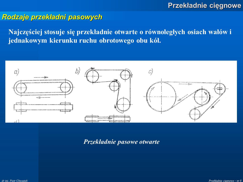 Przekładnie cięgnowe – nr 8 Przekładnie cięgnowe dr inż. Piotr Chwastyk Przekładnie pasowe otwarte Rodzaje przekładni pasowych Najczęściej stosuje się