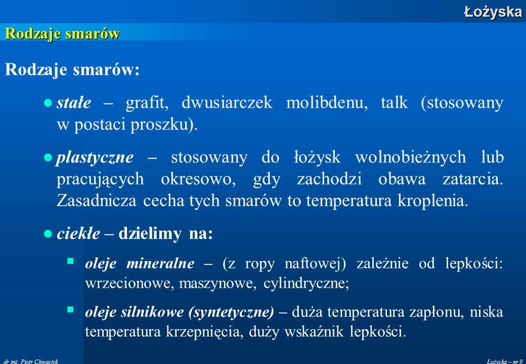 Łożyska – nr 9Łożyska dr inż. Piotr Chwastyk Rodzaje smarów Rodzaje smarów: stałe – grafit, dwusiarczek molibdenu, talk (stosowany w postaci proszku).