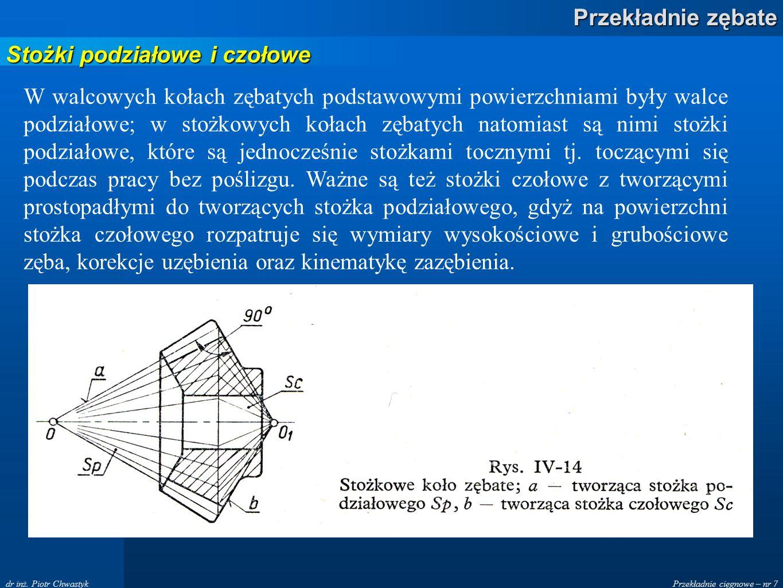 Przekładnie cięgnowe – nr 7 Przekładnie zębate dr inż. Piotr Chwastyk Stożki podziałowe i czołowe W walcowych kołach zębatych podstawowymi powierzchni