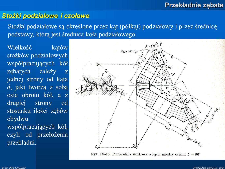 Przekładnie cięgnowe – nr 8 Przekładnie zębate dr inż. Piotr Chwastyk Stożki podziałowe i czołowe Stożki podziałowe są określone przez kąt (półkąt) po