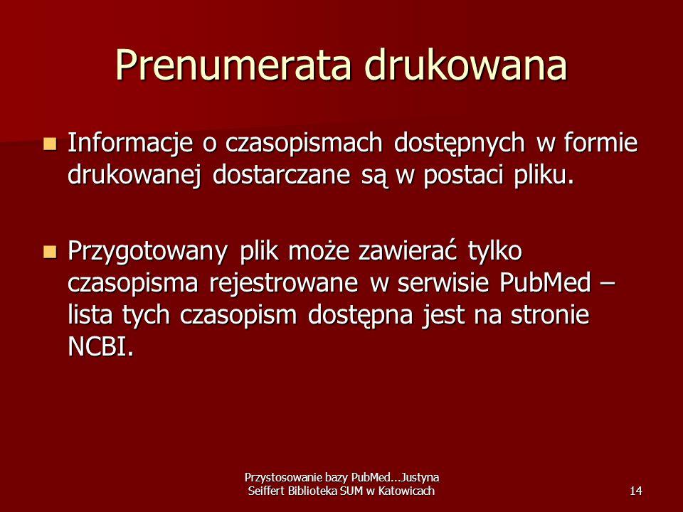 Przystosowanie bazy PubMed...Justyna Seiffert Biblioteka SUM w Katowicach14 Prenumerata drukowana Informacje o czasopismach dostępnych w formie drukow