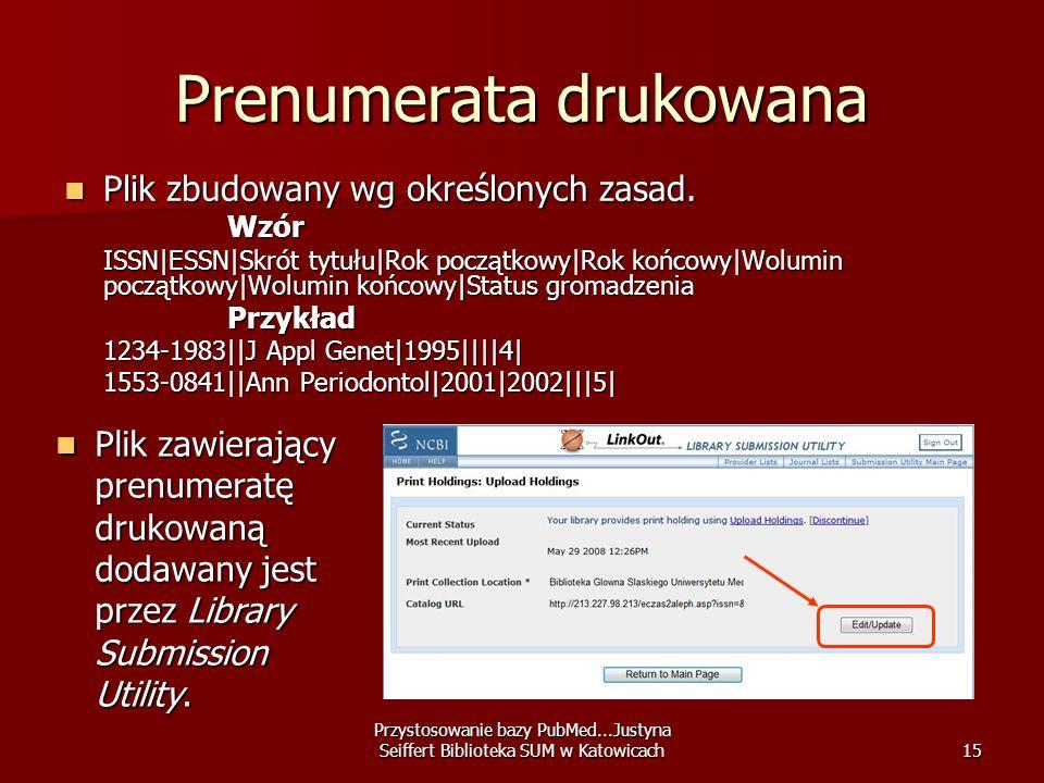 Przystosowanie bazy PubMed...Justyna Seiffert Biblioteka SUM w Katowicach15 Prenumerata drukowana Plik zbudowany wg określonych zasad. Plik zbudowany