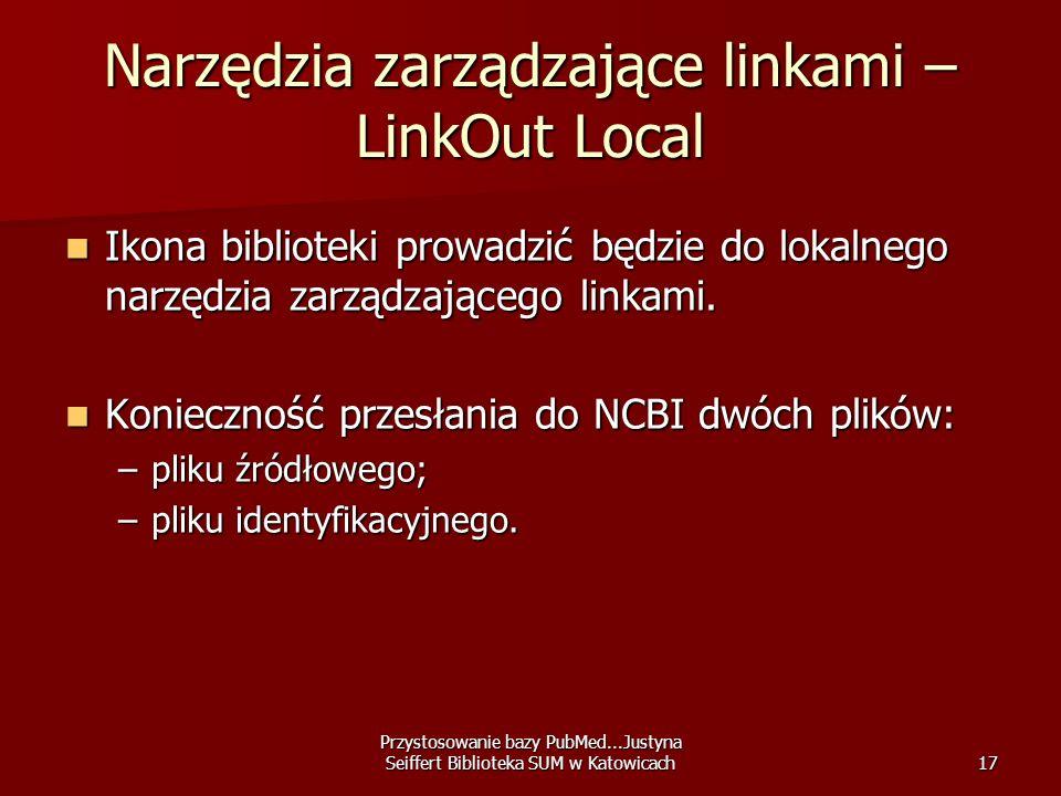 Przystosowanie bazy PubMed...Justyna Seiffert Biblioteka SUM w Katowicach17 Narzędzia zarządzające linkami – LinkOut Local Ikona biblioteki prowadzić