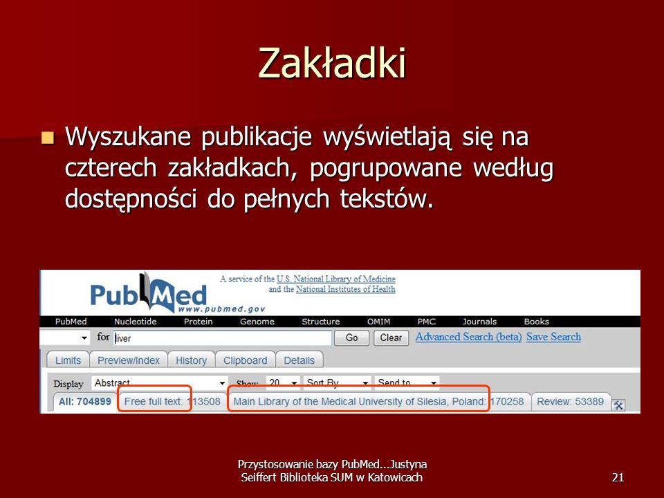 Przystosowanie bazy PubMed...Justyna Seiffert Biblioteka SUM w Katowicach21 Zakładki Wyszukane publikacje wyświetlają się na czterech zakładkach, pogr
