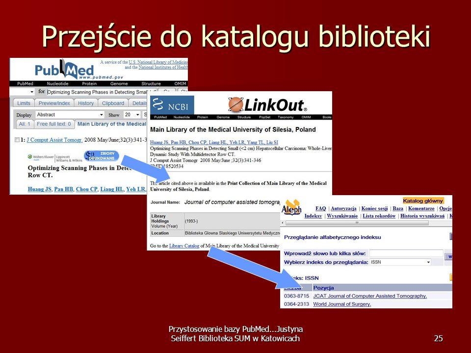 Przystosowanie bazy PubMed...Justyna Seiffert Biblioteka SUM w Katowicach25 Przejście do katalogu biblioteki