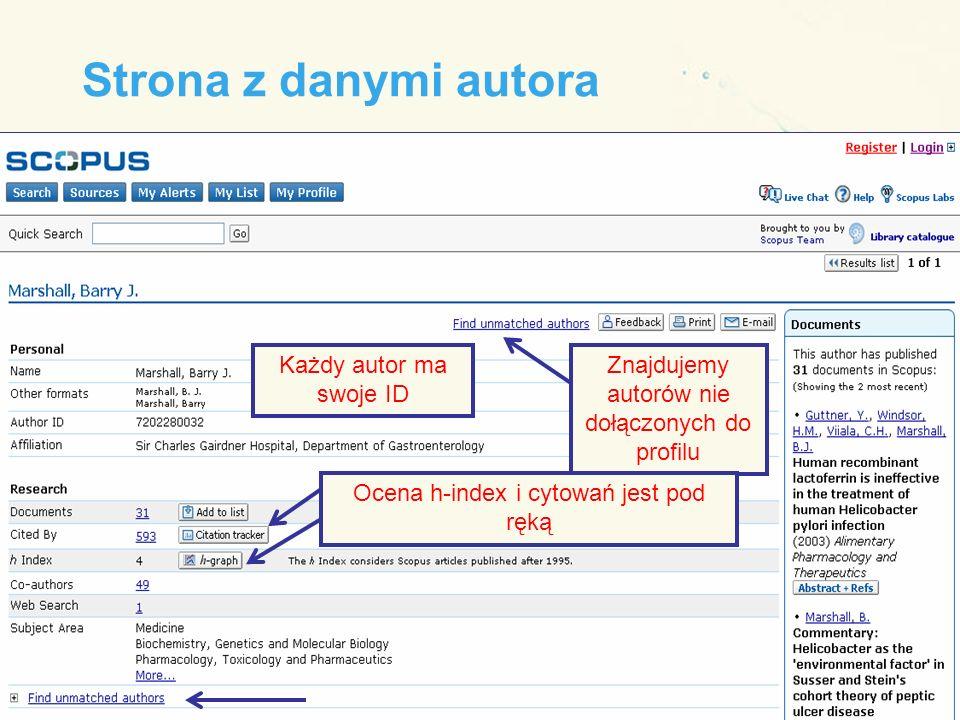 Strona z danymi autora Znajdujemy autorów nie dołączonych do profilu Każdy autor ma swoje ID Ocena h-index i cytowań jest pod ręką