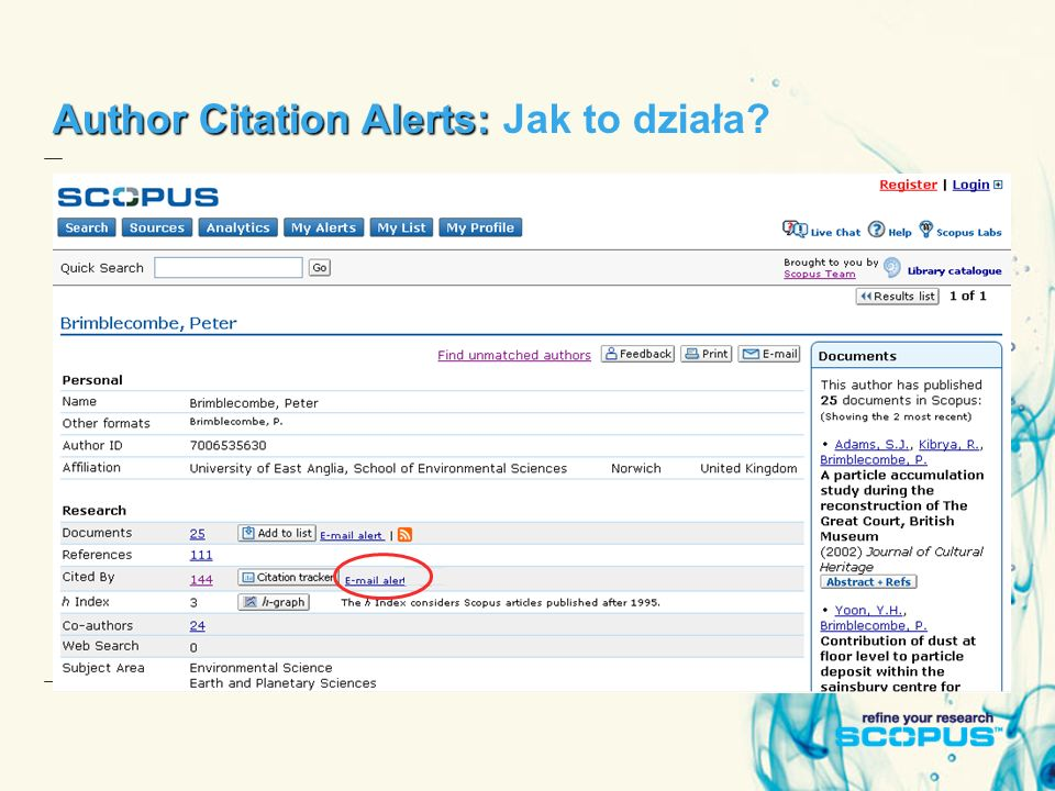 Author Citation Alerts: Author Citation Alerts: Jak to działa?