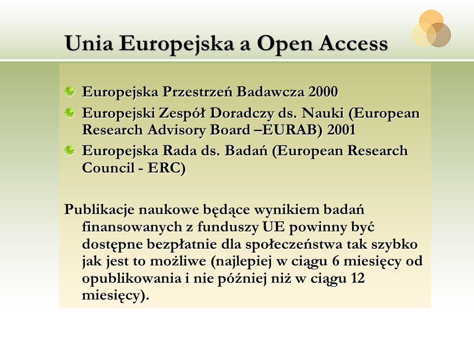 Unia Europejska a Open Access Europejska Przestrzeń Badawcza 2000 Europejski Zespół Doradczy ds. Nauki (European Research Advisory Board –EURAB) 2001
