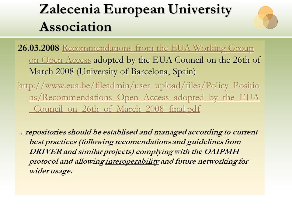 Zalecenia European University Association Recommendations from the EUA Working Group on Open Access adopted by the EUA Council on the 26th of March 20