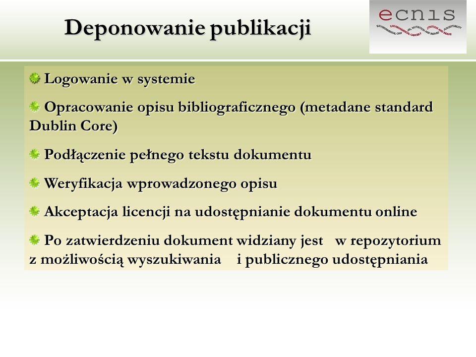 Deponowanie publikacji Logowanie w systemie Logowanie w systemie Opracowanie opisu bibliograficznego (metadane standard Dublin Core) Opracowanie opisu