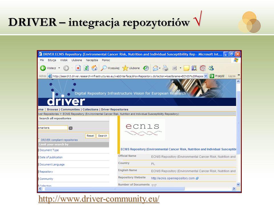 DRIVER – integracja repozytoriów DRIVER – integracja repozytoriów http://www.driver-community.eu/