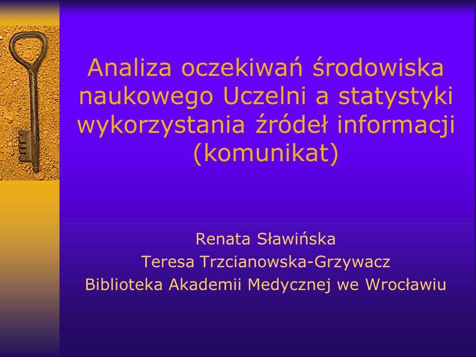 Analiza oczekiwań środowiska naukowego Uczelni a statystyki wykorzystania źródeł informacji (komunikat) Renata Sławińska Teresa Trzcianowska-Grzywacz Biblioteka Akademii Medycznej we Wrocławiu