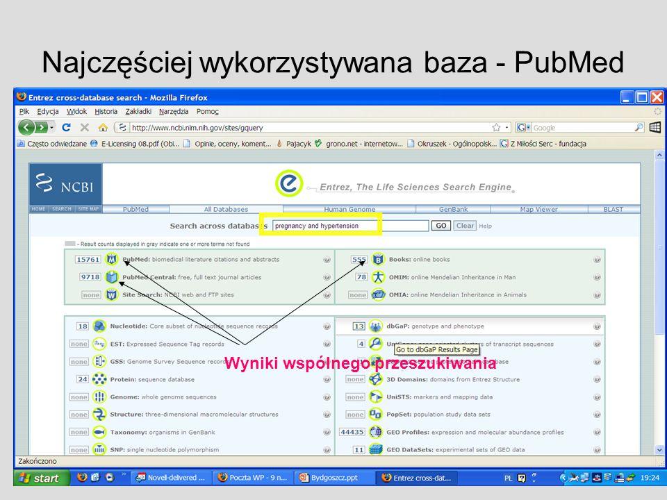 Najczęściej wykorzystywana baza - PubMed Wyniki wspólnego przeszukiwania