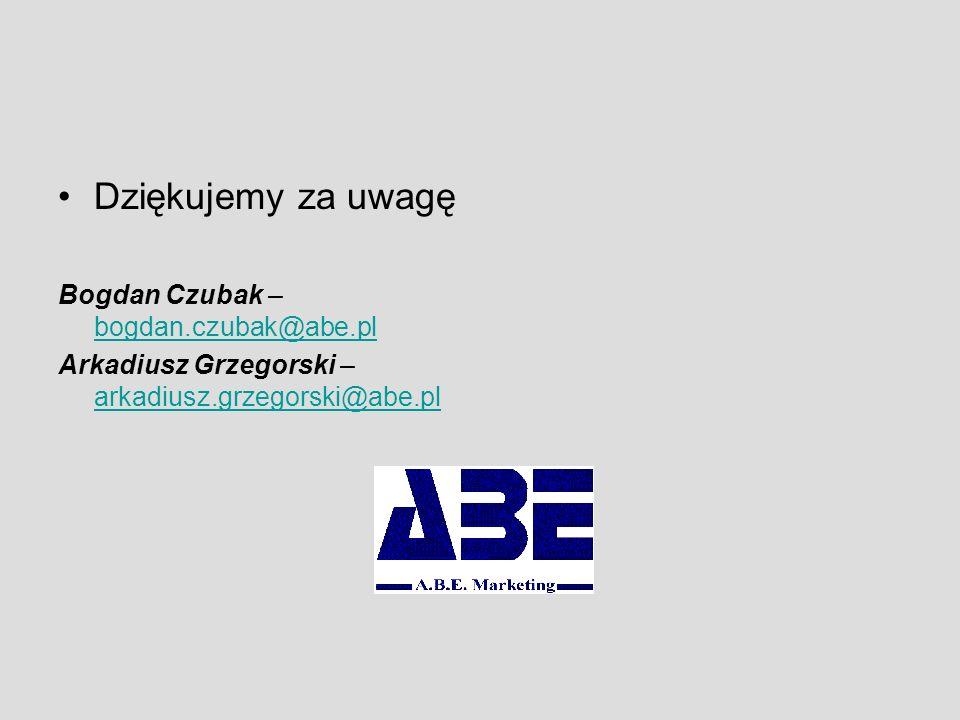 Dziękujemy za uwagę Bogdan Czubak – bogdan.czubak@abe.pl bogdan.czubak@abe.pl Arkadiusz Grzegorski – arkadiusz.grzegorski@abe.pl arkadiusz.grzegorski@