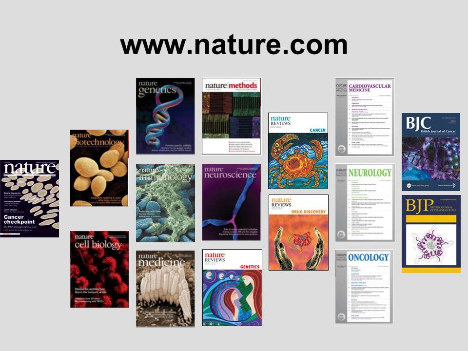 Podstawowe zalety Nature na platformie NPG: W pełni przeszukiwalna zawartość dostępne archiwa (4 lata wstecz).
