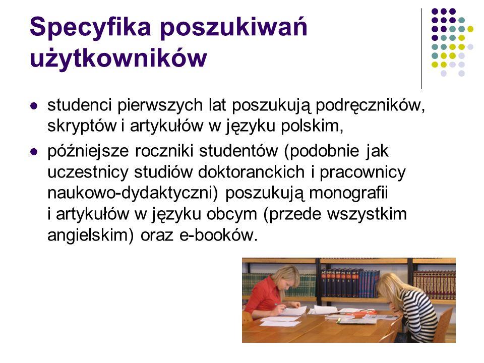 Specyfika poszukiwań użytkowników studenci pierwszych lat poszukują podręczników, skryptów i artykułów w języku polskim, późniejsze roczniki studentów (podobnie jak uczestnicy studiów doktoranckich i pracownicy naukowo-dydaktyczni) poszukują monografii i artykułów w języku obcym (przede wszystkim angielskim) oraz e-booków.