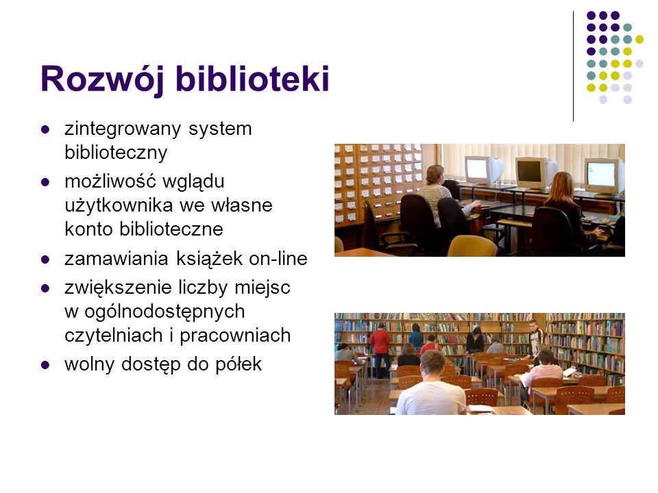 Rozwój biblioteki zintegrowany system biblioteczny możliwość wglądu użytkownika we własne konto biblioteczne zamawiania książek on-line zwiększenie liczby miejsc w ogólnodostępnych czytelniach i pracowniach wolny dostęp do półek