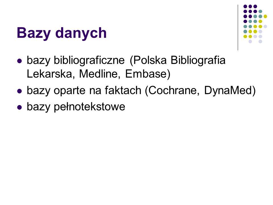 Bazy danych bazy bibliograficzne (Polska Bibliografia Lekarska, Medline, Embase) bazy oparte na faktach (Cochrane, DynaMed) bazy pełnotekstowe