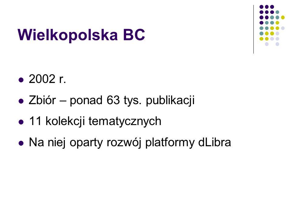Wielkopolska BC 2002 r. Zbiór – ponad 63 tys. publikacji 11 kolekcji tematycznych Na niej oparty rozwój platformy dLibra