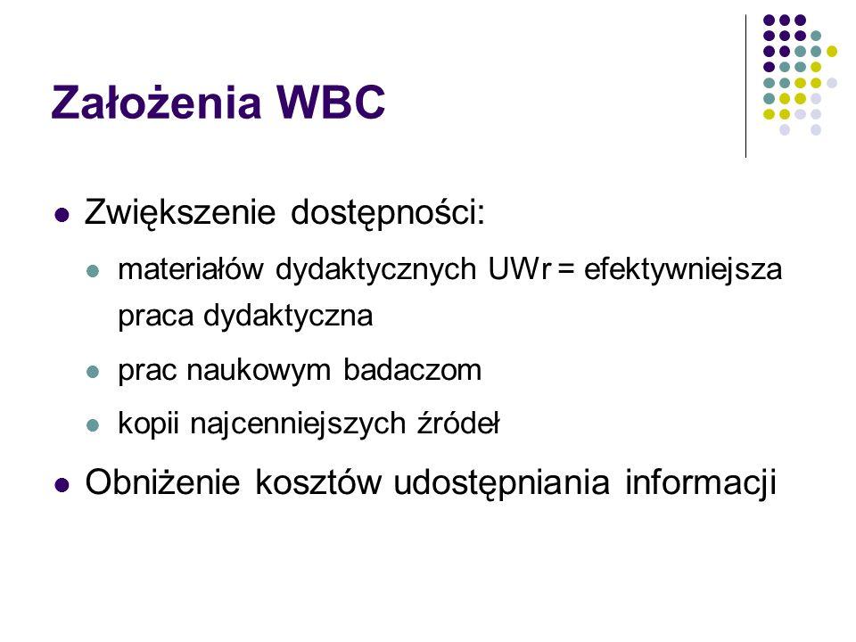 Założenia WBC Zwiększenie dostępności: materiałów dydaktycznych UWr = efektywniejsza praca dydaktyczna prac naukowym badaczom kopii najcenniejszych źr